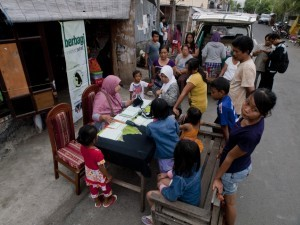 Medical teams attend at an impoverished community