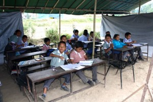 Children at the temporary school in Nepal