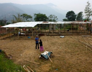 Temporary shelters being constructed for 30 families