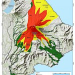 The projected lava flow areas from Mount Agung's potential eruption Source: www.bnpb.go.id