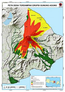 The projected lava flow areas from Mount Agung's potential eruption in Sep 2017. Source: www.bnpb.go.id