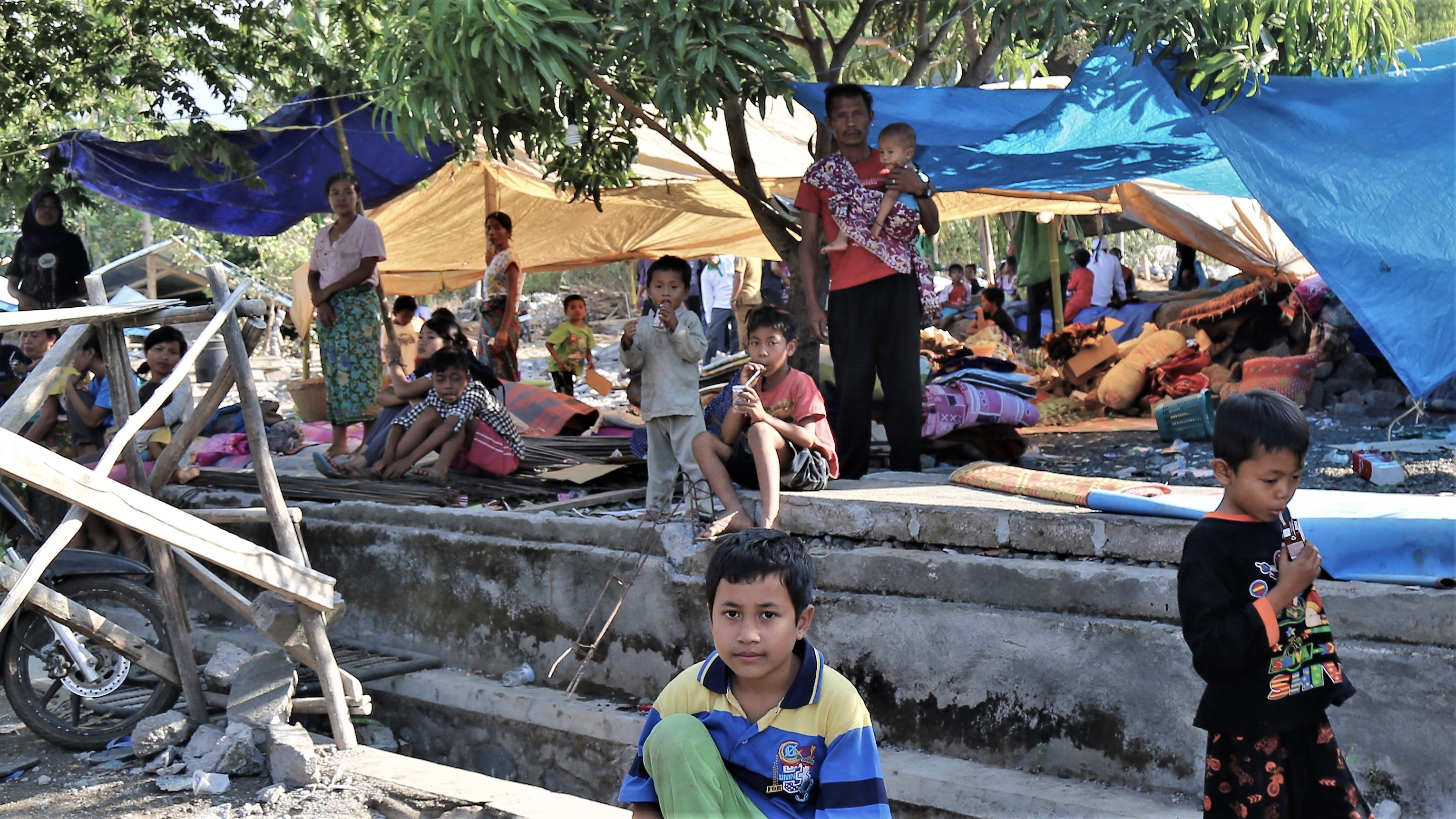 A temporary camp is set up following the devastating 2018 Lombok Earthquake